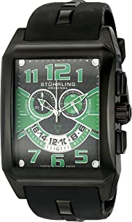 Stuhrling Original Men's 255A.335771 Leisure Mad Man C-2 Swiss Quartz Chronograph Date Green Silicone Rubber Strap Watch