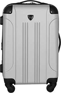 """Travelers Club 20"""" Chicago Expandable Spinner Carry-On Luggage, Silver"""