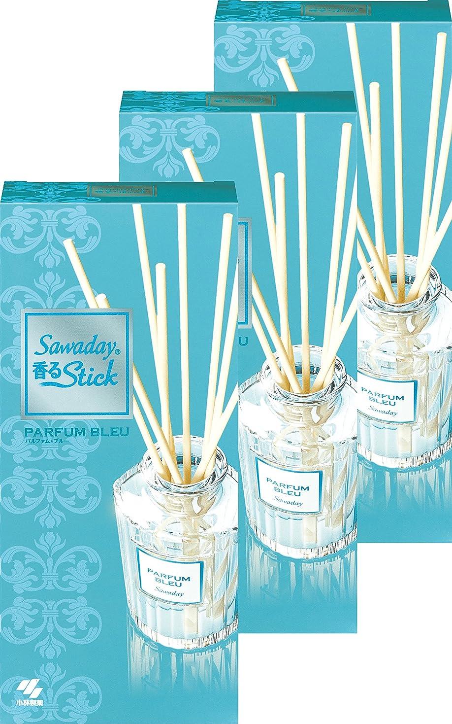 発動機階層レインコート【まとめ買い】サワデー香るスティック 消臭芳香剤 本体 パルファムブルー 70ml×3個