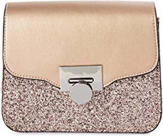 Lenz Flap Bag For Women, Leather, Metallic Gold - S18-B013