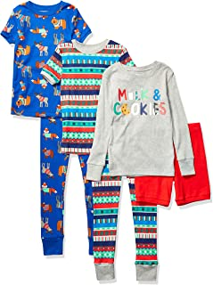 Spotted Zebra Snug-fit Cotton Pajamas Sleepwear Sets Niños, Pack de 6