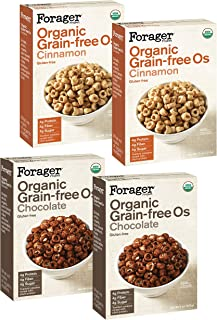Forager Project Organic Gluten-Free Breakfast Cereal, 4 Pack Variety - Low Sugar, 4g of Protein, Vegan (2x Chocolate, 2x C...