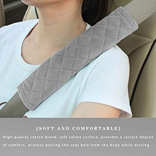 Car Seat Belt Cushions Shoulder Pad Soft Two Packs for All Car Owners for a More Comfortable Driving (Grey)