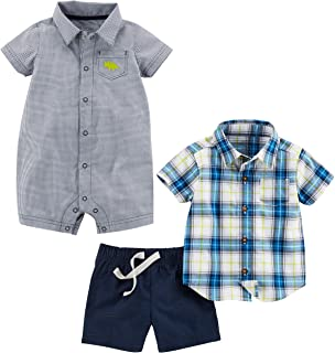 Baby Boys' 3-Piece Fleece Playwear Set-Romper, Shorts, and Shirt