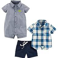 Baby Boys' 3-Piece Fleece Playwear Set-Romper, Shorts, and Shirt