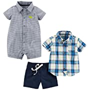 Simple Joys by Carter's Baby Boys' Infant 3-Piece Playwear Set, Chambray/Blue Plaid, 0-3 Months