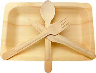 Wooden Disposable Cutlery Set of 50 Plate,50 Forks, 50 Spoons, 50 Knives, 6 inch Utensils,Biodegradable, Compostable Dinnerware,Wedding,BBQ, Catering & Party Supplies(Pack of 200)