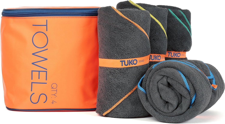 TUKO Microfiber Beach Towel Set with Bag Holder (60L x 30W, Set of 4)