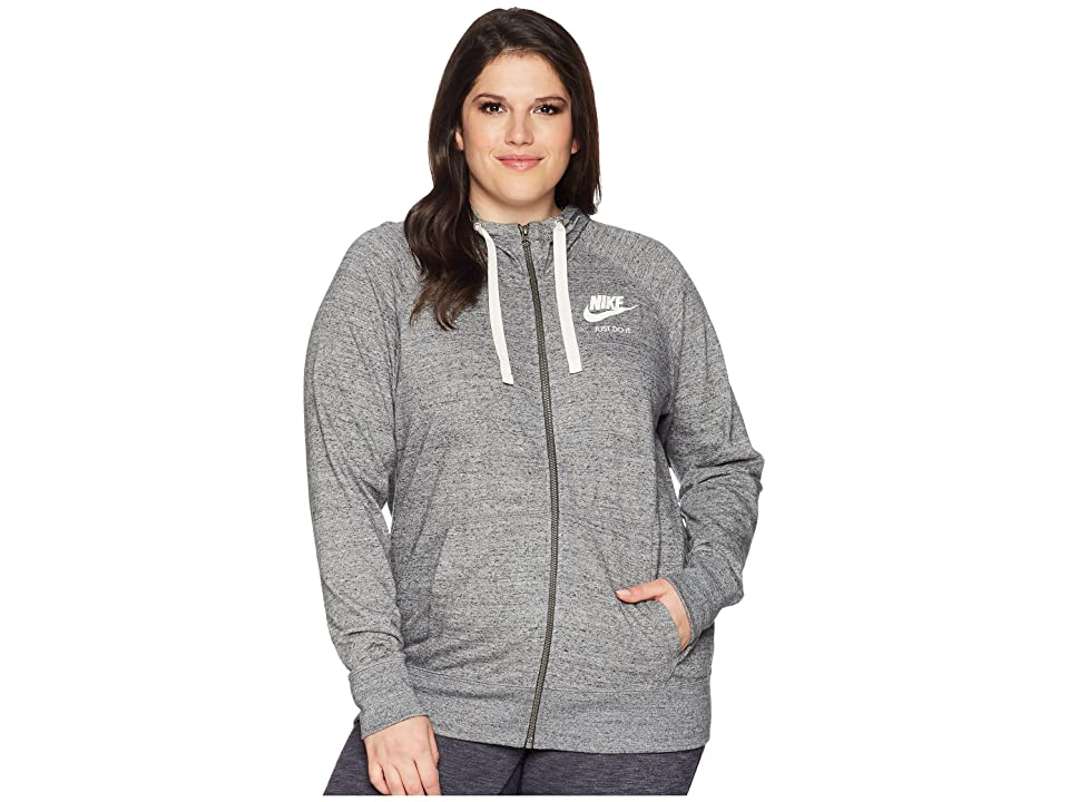 Nike NSW Gym Vintage Full Zip Hoodie (Size 1X-3X) (Carbon Heather/Sail) Women