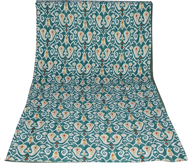 Traditional Indian メーカー直送 Ikat Print Vintage Quilt メーカー直送 Bohe Handmade Kantha
