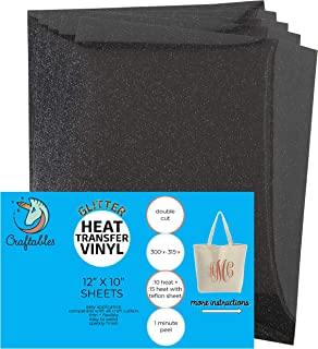 Craftables Black Glitter Heat Transfer Vinyl, HTV - 5 Sheets Sparkling Easy to Weed Tshirt Iron on Vinyl for Silhouette Cameo, Cricut, All Craft Cutters. Ships Flat, Guaranteed Size