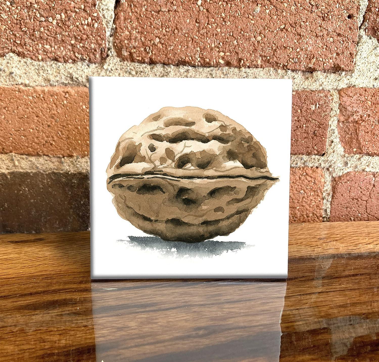 Walnut Watercolor Art Regular store Decorative Tile 4.25 Mail order X