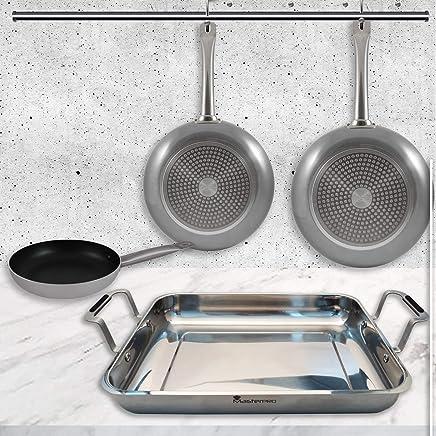 MasterPro PK1474 Cooking 4 pcs-Molde de Horno Rectangular y Set 3 sartenes -inducción