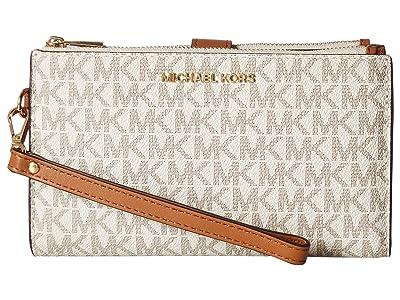 MICHAEL Michael Kors Adele Double-Zip Wristlet 7+ (Vanilla) Wristlet Handbags