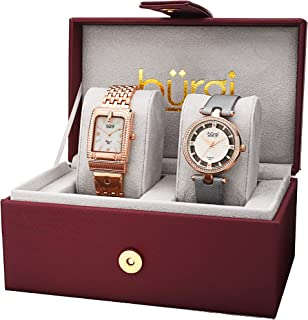 Burgi Women's BUR178 Diamond and Crystal Accented Bracelet & Satin Strap 2 Watch Box Set