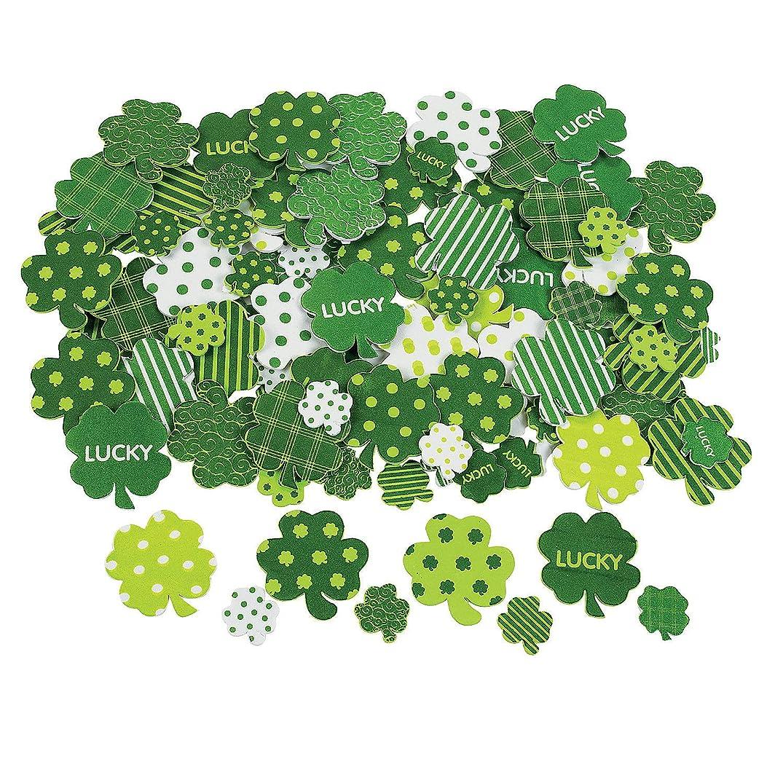 Fun Express - Fabulous Foam Adhesive Shamrock Shapes for St. Patrick's Day - Craft Supplies - Foam Shapes - Regular - St. Patrick's Day - 500 Pieces