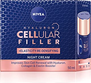 NIVEA Anti Age Hyaluron Cellular Elasticity Night Cream (50ml), Anti Wrinkle Cellular Filler Night Cream with Hyaluronic A...