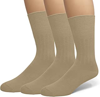 EMEM Apparel Men's Diabetic Dress Crew Cotton Socks | Non-Binding Loose Top | Seamless Toe | 3-Pair | Big and Tall Available