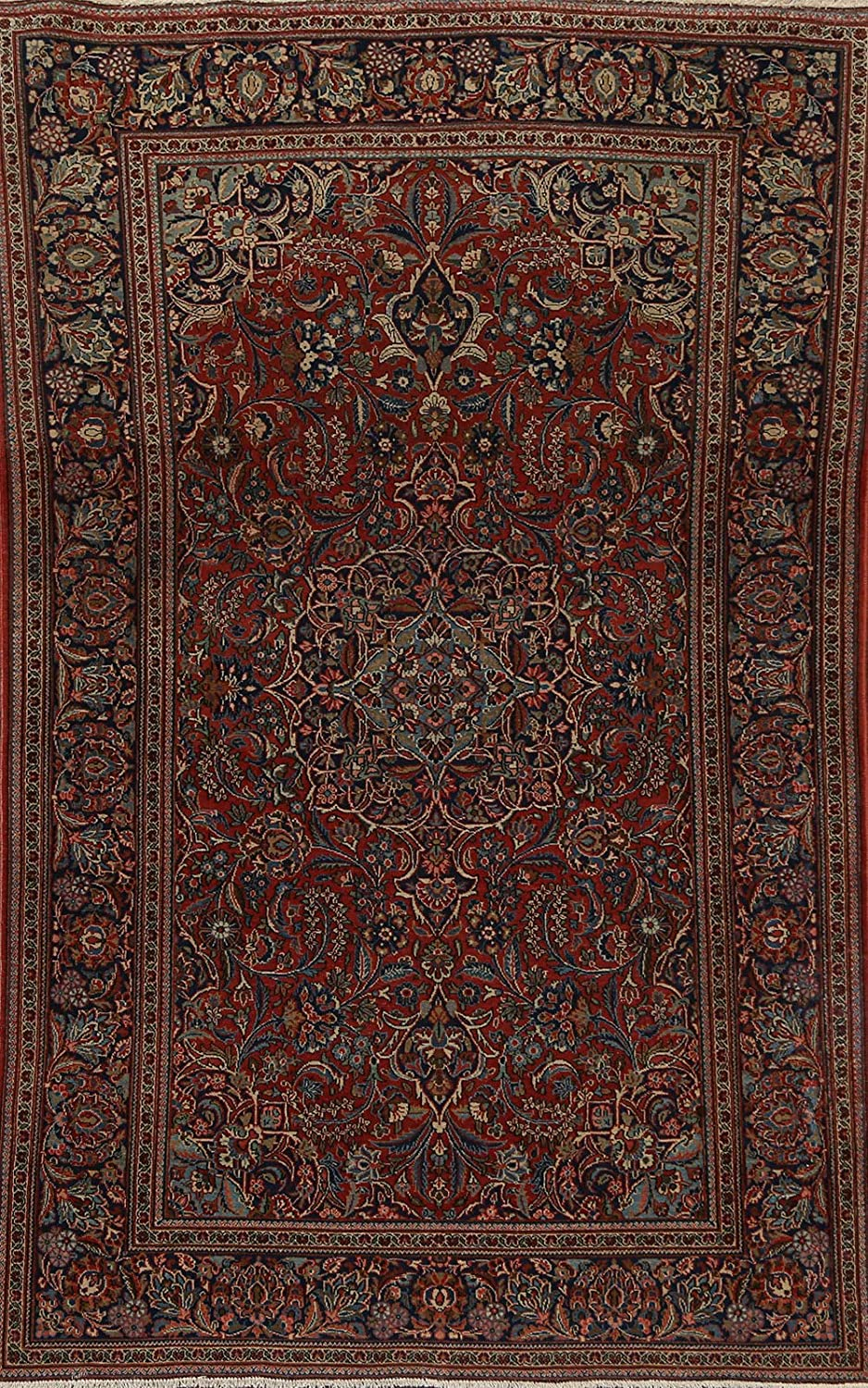 Free Shipping Cheap Bargain Gift Antique Red Floral Genuine Free Shipping Vegetable Dye Dabir Oriental Area Kashaan Rug