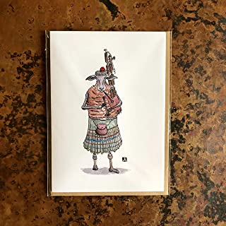BellavanceInk: Greeting Card With Scottish Highland Sheep Playing the Bagpipes Pen & Ink Watercolor Illustration 5 x 7 Inches