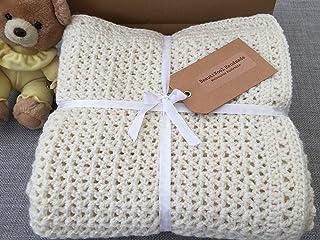 Unisex Baby Blanket. Cream Baby Afghan Crocheted Baby Blanket Soft Handmade Cot/Pram/Bassinette Blanket