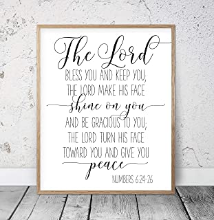 Bible Verse Printable The Lord bless You And Keep You Numbers 6:24-46 Christian Prints Calligraphy Print Christian Gifts Bible Verse Art Wood Pallet Design Wall Art Sign Plaque with Frame wooden sign