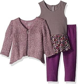 PIPPA & JULIE Baby Girls' Three Piece Zip Sweater Legging Set