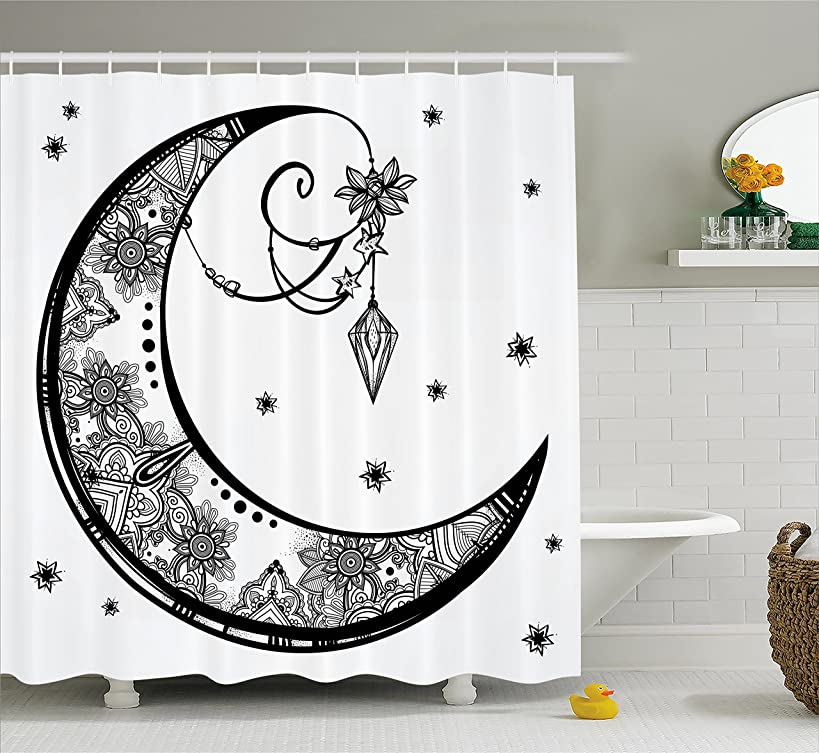 Ambesonne Tribal Shower Curtain, Paisley Floral Moon Crescent Gem Figures Ethnic Astrology Inspired Design Print, Fabric Bathroom Decor Set with Hooks, 70 Inches, White and Black