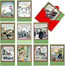NobleWorks, Bizarro by Piraro - 10 Comic Merry Christmas Cards with Envelopes - Funny Assorted, Boxed Cartoon Holiday Cards for Xmas A1256