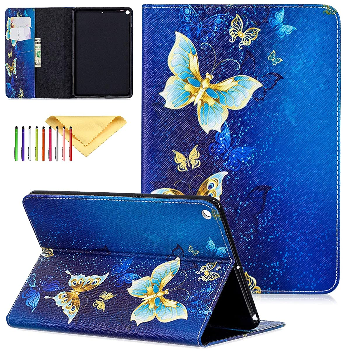 iPad Mini 5 Case Kids 2019 Latest Model A2133 / A2124 / A2126, Cookk Slim Flip Stand Skinshell with Card Slots Lightweight Protective Cases and Covers for Apple iPad Mini 5 7.9