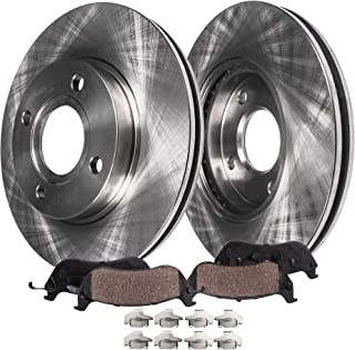 Detroit Axle - Pair (2) Front Disc Brake Rotors w/Ceramic Pads w/Hardware for 2000 2001 2002 2003 2004 2005 2006 Nissan Sentra Rear Disc Models Only (NOT for SE-R Spec V)