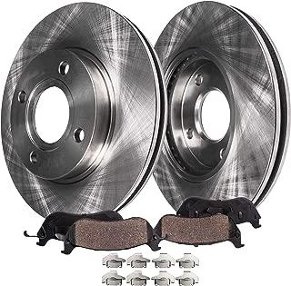 Detroit Axle - 4-Lug Front Brake Rotors & Ceramic Pads w/Clips Hardware Kit Premium GRADE for 2005 2006 2007-2010 Chevy Cobalt - [07-08 Pontiac G5] - 03-07 Saturn Ion - Rear Drum Brake Models Only