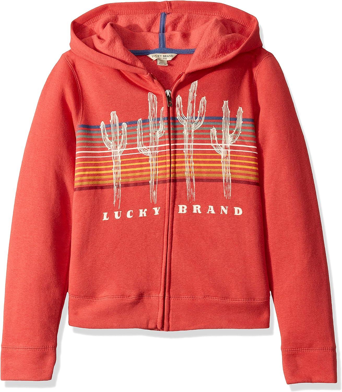 Lucky Brand Girls' Long Sleeve Zip Up Hoody: Clothing