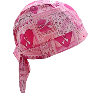 Pink Ribbon Breast Cancer Awareness Hearts & Flowers Skull Cap Headwrap with Tie