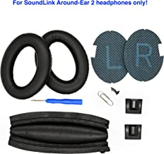 Replacement Ear Pads and Headband Cushion pad for Bose SoundLink Around-Ear 2 Headphones (PU Leather, Black)