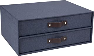 Bigso 2-Drawer Birger Canvas Paper Laminate Easy Pull Handle File Storage Box, Blue