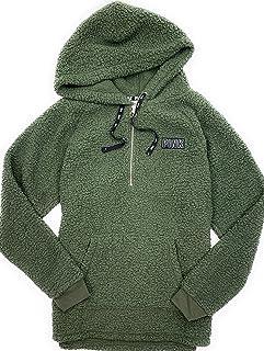 976b5642 Victoria's Secret Pink Womens Half Zip Sherpa Hoodie Sweatshirt Olive Green