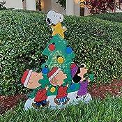 "36/"" Peanuts Gang Around Tree Yard Art Outdoor Christmas Decor Hammered Metal"