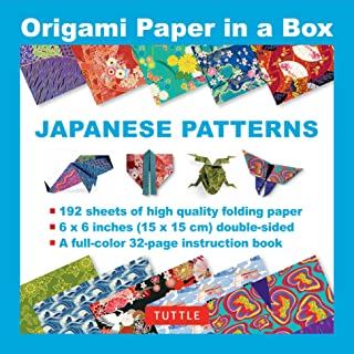 Origami Paper in a Box - Japanese Patterns: 192 Sheets of Tuttle Origami Paper: 6x6 Inch High-Quality Origami Paper Printed with 10 Different Patterns: 32-page Instructional Book of 4 Projects