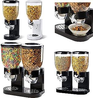 Dispensador doble de cereales ENYAA, con bandeja integrada para nueces, cereales, alimentos para mascotas, dulces, disponible en blanco o negro.