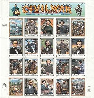 1995 Civil War Sheet of Twenty Different 32 Cent Stamps Scott 2975