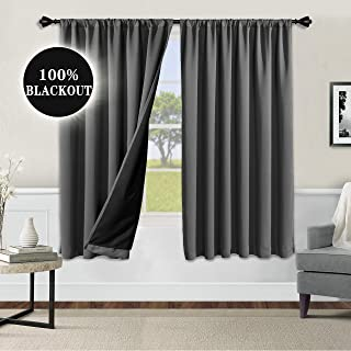 WONTEX 100% Grey Blackout Curtains for Bedroom 52 x 63 inch Length - Thermal Insulated, Noise Reducing, Sun Blocking Lined Rod Pocket Window Curtain Panels for Living Room, Set of 2 Winter Curtains