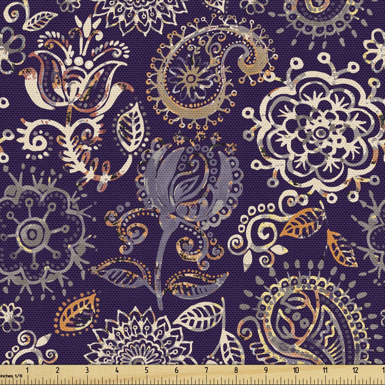 Lunarable Paisley Fabric by The Yard, Botanical Floral Batik Pattern with Grungy Paint Effect Curly Petals and Leaves, Decorative Fabric for Upholstery and Home Accents, 3 Yards, Indigo Amber