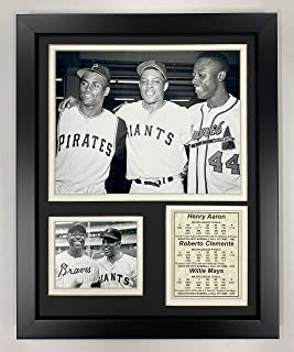 Legends Never Dieハンク・アーロンRoberto Clemente and Willie Mays Framed写真コラージュ、11by 14インチ...