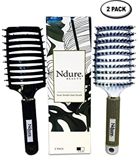 Curved Vented Boar Bristle Styling Hair Brush, 2 PACK, Anti-static Detangler, Thick, Fine, or Curly Hair, Wet or Dry Use, Fast Blow Drying, Use on Long or Short Hair. White & Black Brush Set