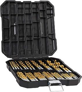 "99 Pieces Titanium Twist Drill Bit Set, Anti-Walking 135° Tip High Speed Steel, Size from 1/16""..."