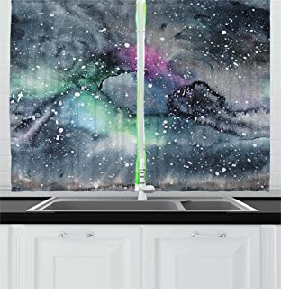 Ambesonne Psychedelic Kitchen Curtains, Space Galaxy Inspired Hazy Grunge Modern Celestial Cosmic Fantasy Design Print, Window Drapes 2 Panel Set for Kitchen Cafe Decor, 55