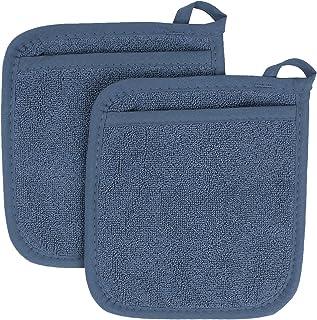Ritz Royale Collection 100% Cotton Terry Cloth Pocket Mitt Set, Dual-Function Hot Pad/Pot..