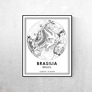 Pulling Brasilia map Minimalist Poster or Brasilia Brazil Roads map Modern Black and White Travel Print Streets map City map map Art