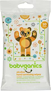 BabyGanics Alcohol Free Hand Sanitizer On the Go Wipes, Mandarin, 20 Count
